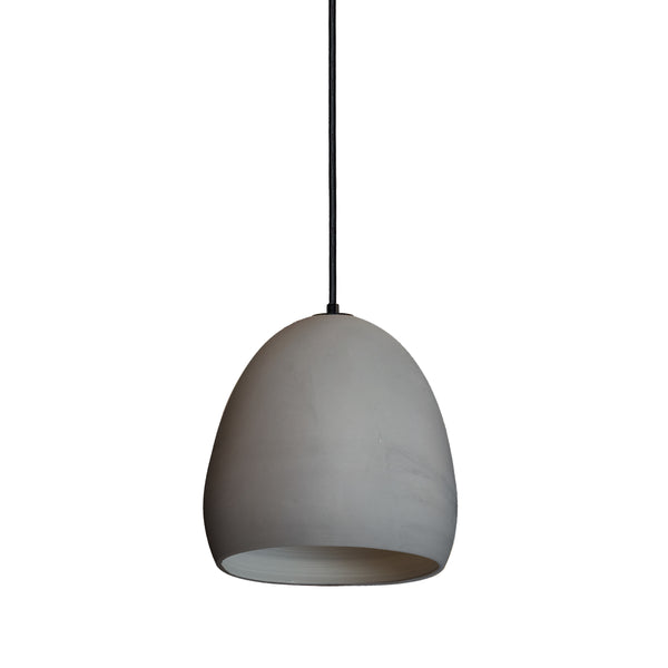 Matte Grey Porcelain Round Globe Clay Pendant Light- Black Fabric Cord- Made in USA- Hammers and Heels