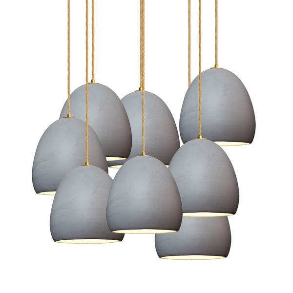 "7"" Matte Grey Porcelain Staggered Chandelier- Brass Cord - Made in USA"
