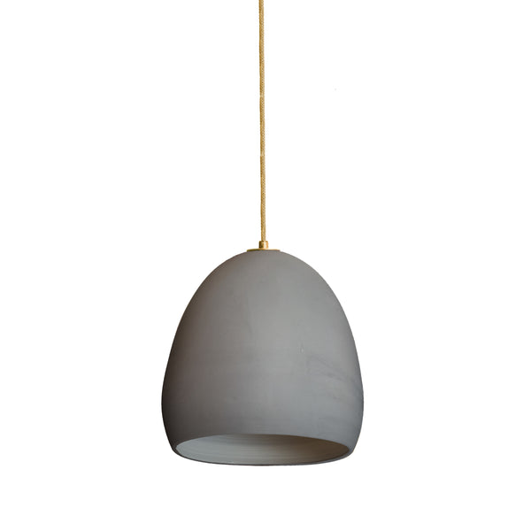 Matte Grey  Porcelain Round Globe Clay Pendant Light- Made in USA- Hammers and Heels