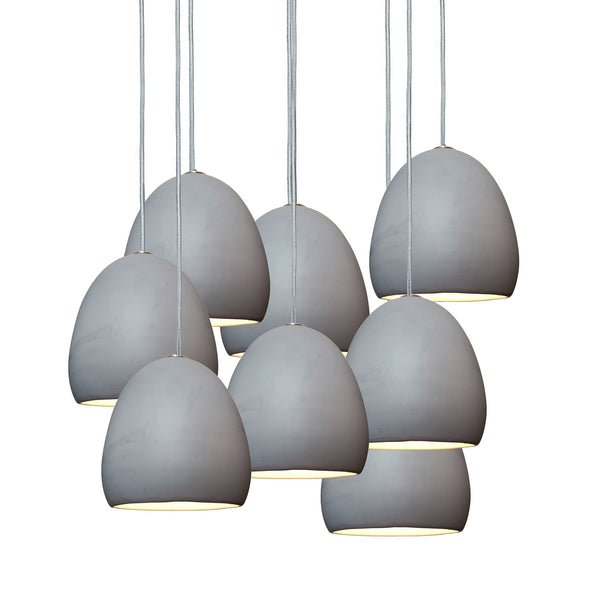 "7"" Matte Grey Porcelain Staggered Pendant Light Chandelier"