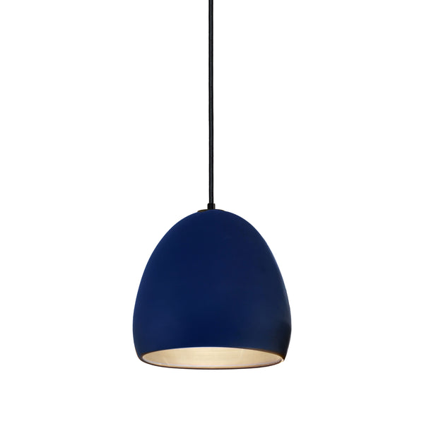 Matte Indigo Porcelain Round Globe Clay Pendant Light- Black Fabric Cord- Made in USA- Hammers and Heels