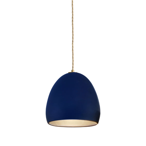 Matte Indigo Porcelain Round Globe Clay Pendant Light- Ship Rope- Made in USA- Hammers and Heels