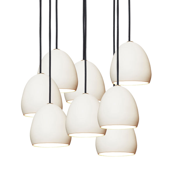 Matte White Porcelain Round Globe Clay Multiple Staggered Pendant Light Chandelier- USA Made- Hammers and Heels- Custom. Exclusive. Quality