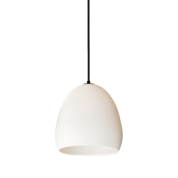 Matte White Porcelain Round Globe Clay Pendant Light- Black Fabric Cord- Made in USA- Hammers and Heels