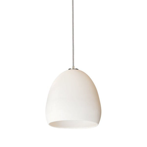 Matte White Porcelain Round Globe Clay Pendant Light- Nickel Cord- Made in USA- Hammers and Heels
