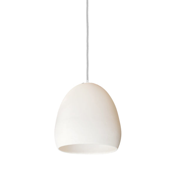Matte White Porcelain Round Globe Clay Pendant Light- WhiteFabric Cord- Made in USA- Hammers and Heels