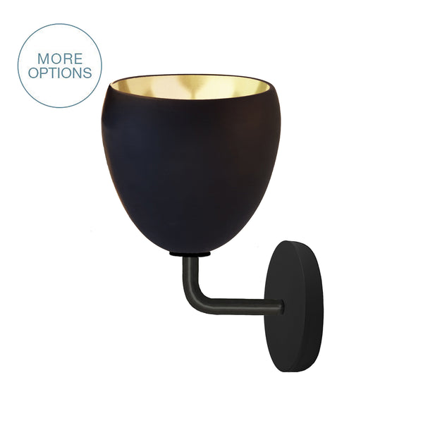 "7"" Matte Black & Brass Leaf Clay Sconce"