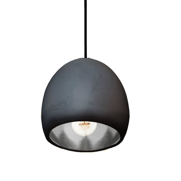 "7"" Matte Black & Silver Leaf Globe Porcelain Clay Pendant Light - USA Made"