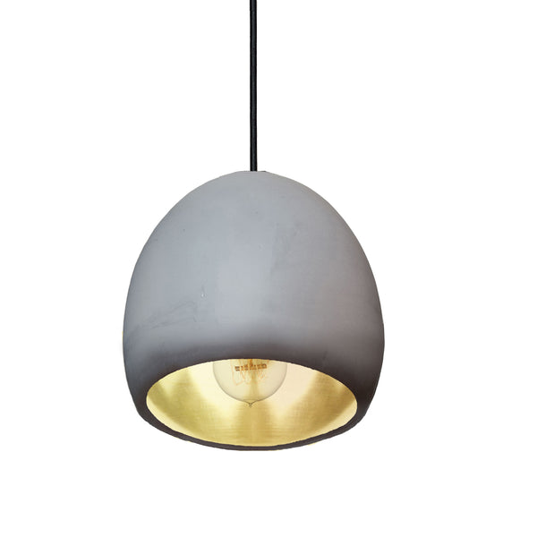 "7"" Matte Grey & Brass Leaf Clay Globe Porcelain Pendant Light - USA Made"