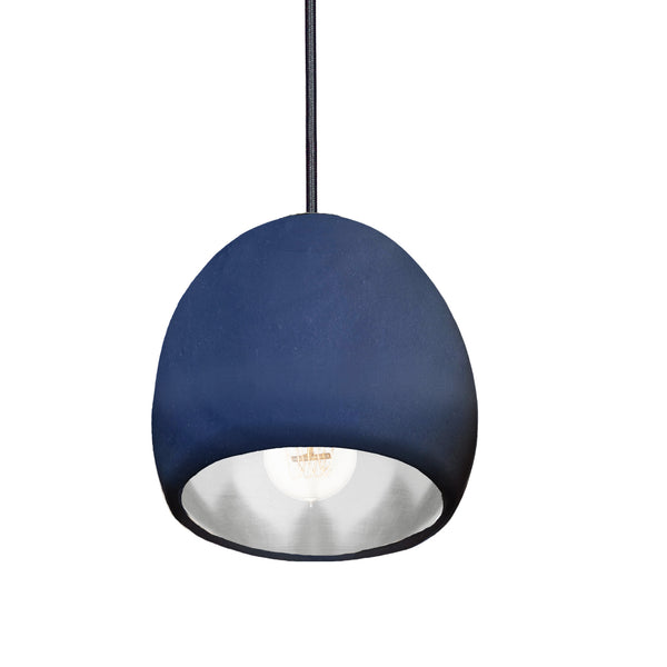"7"" Matte Indigo & Silver Leaf Clay Globe Porcelain Pendant Light - Made in USA"
