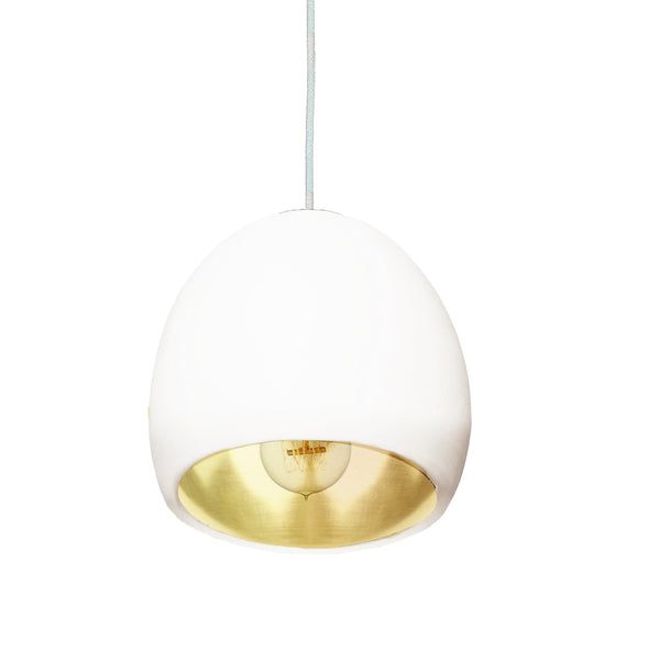 "7"" Matte White & Brass Leaf Globe Porcelain Clay Pendant Light - USA Made"