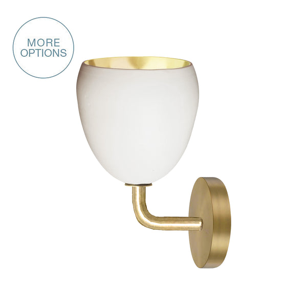 "7"" Matte White & Brass Leaf Clay Sconce"