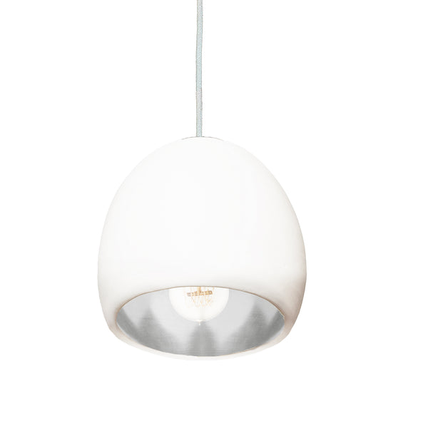 "7"" Matte White & Silver Leaf Globe Porcelain Clay Pendant Light - USA Made"