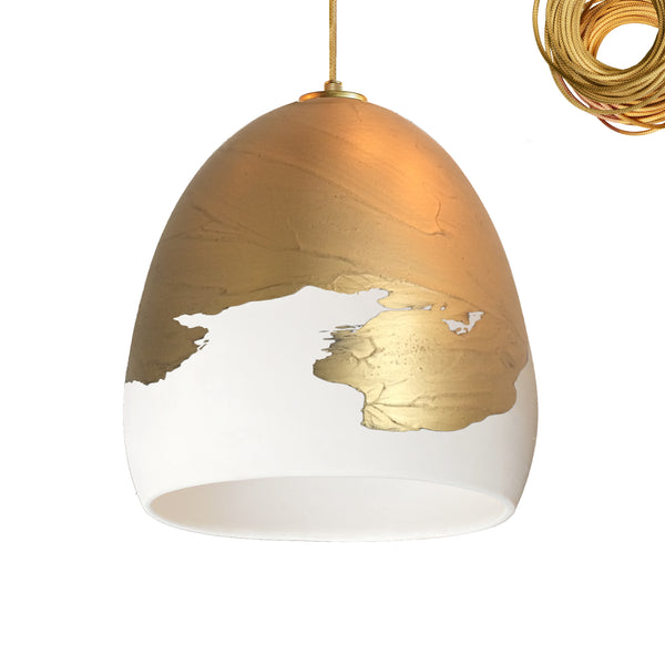 Matte White & Brass Metallic Ombre Porcelain Round Globe Pendant Light- USA Made- Hammers and Heels