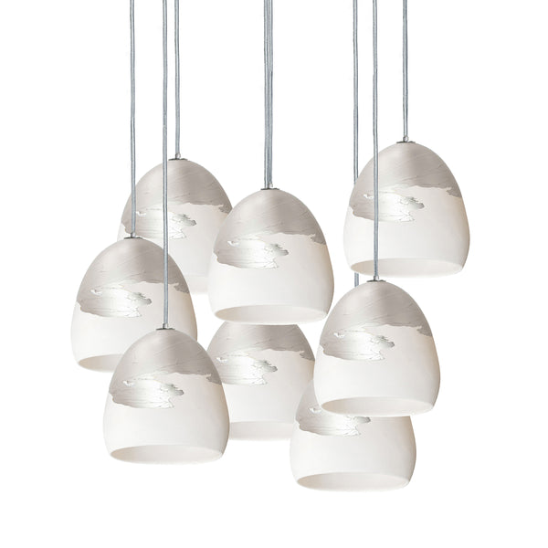"7"" Matte White & Silver Ombre Porcelain Multiple Stagger Pendant Chandelier - Made in USA"
