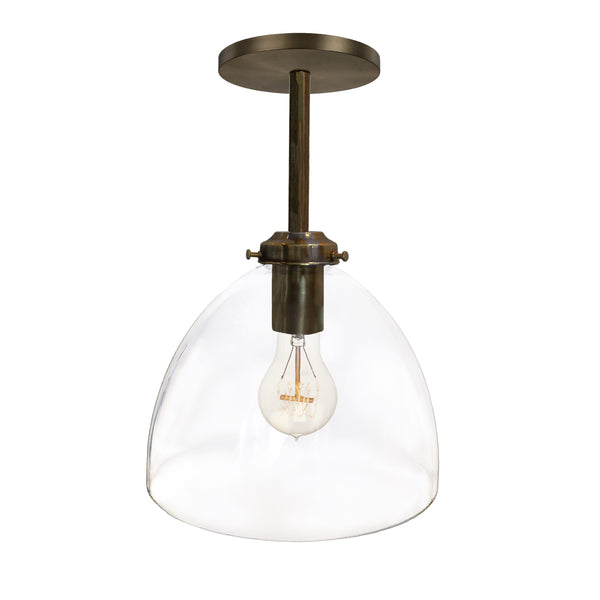 Clear Blown Glass Bell Downrod Pendant Light- Bronze- USA Made by Hammers and Heels- Custom. Exclusive. Quality