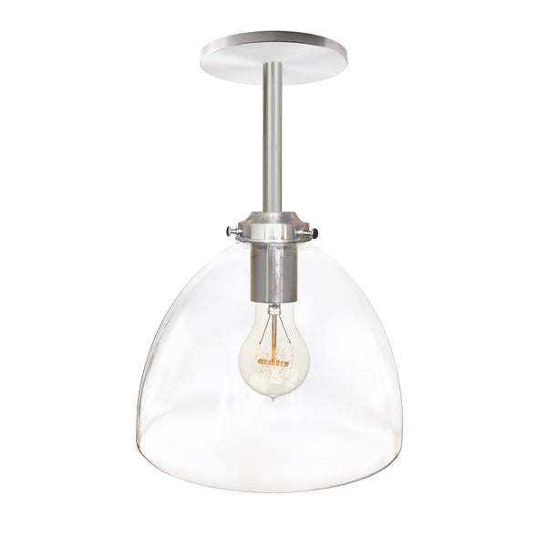 Clear Blown Glass Bell Downrod Pendant Light- Brushed Nickel- USA Made by Hammers and Heels- Custom. Exclusive. Quality
