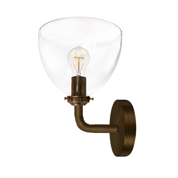 Clear Blown Glass Bell Wall Sconce- Bronze- USA Made by Hammers and Heels- Custom. Exclusive. Quality