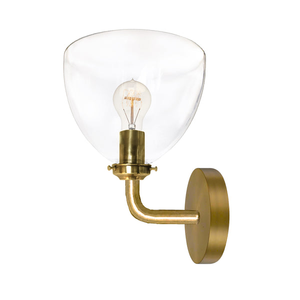 Clear Blown Glass Bell Wall Sconce- Brass- USA Made by Hammers and Heels- Custom. Exclusive. Quality