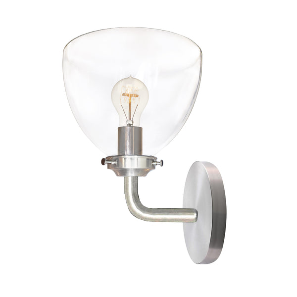 Clear Blown Glass Bell Wall Sconce- Brushed Nickel- USA Made by Hammers and Heels- Custom. Exclusive. Quality