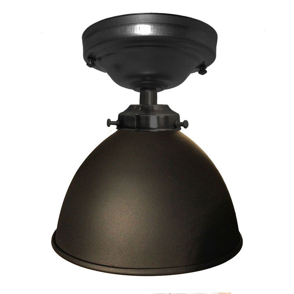 Factory Dome Metal Shade Flush Mount Light- Matte Black