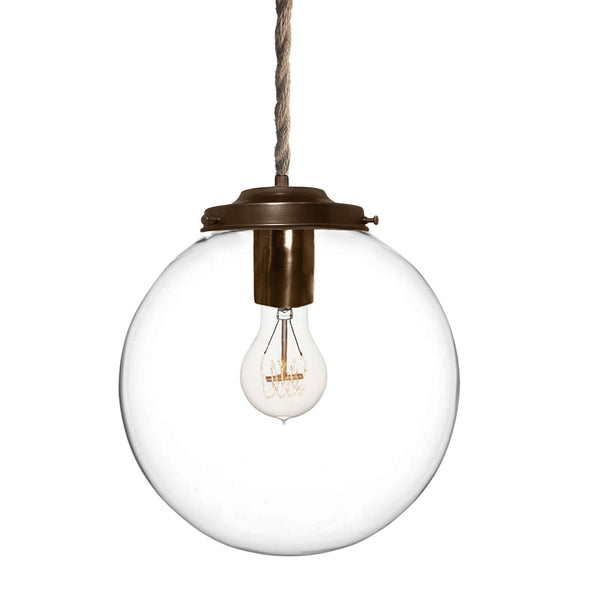 Clear Handblown Glass Globe Pendant Light- Ship Rope- Made in USA