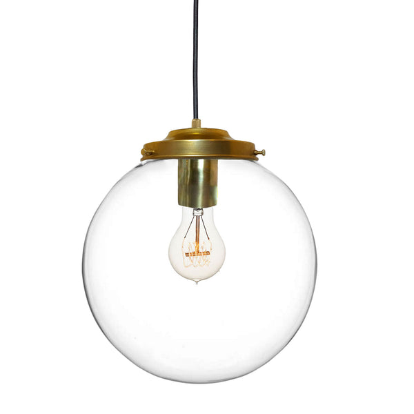 Clear Handblown Glass Globe Pendant Light- Made in USA