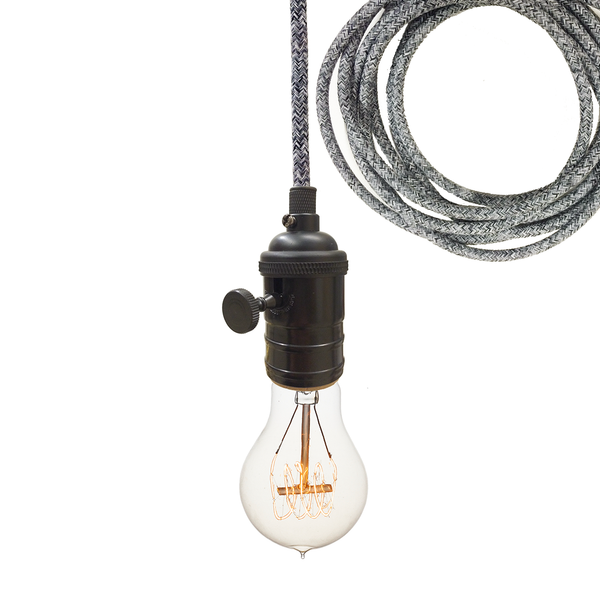 Dark Sweater Cloth Cord & Black Bare Bulb Pendant Light Pendant Lighting- USA Made. Custom. Exclusive. Quality Hammers and Heels