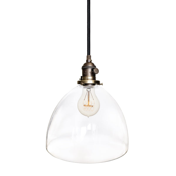 Clear Blown Glass Bell Socket Pendant Light- Bronze. Made in USA. Custom, exclusive, quality by Hammers and Heels.