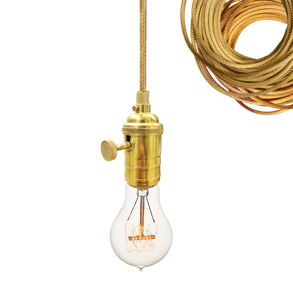 Brass Bare Bulb Pendant Light- Brass Cord. USA Made. Custom. Exclusive. Quality
