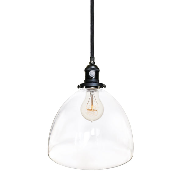 Clear Blown Glass Bell Socket Pendant Light- Black. Made in USA. Custom, exclusive, quality by Hammers and Heels.