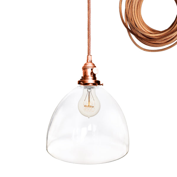 Clear Blown Glass Bell Pendant Light- Copper. Made in USA. Custom, exclusive, quality by Hammers and Heels.