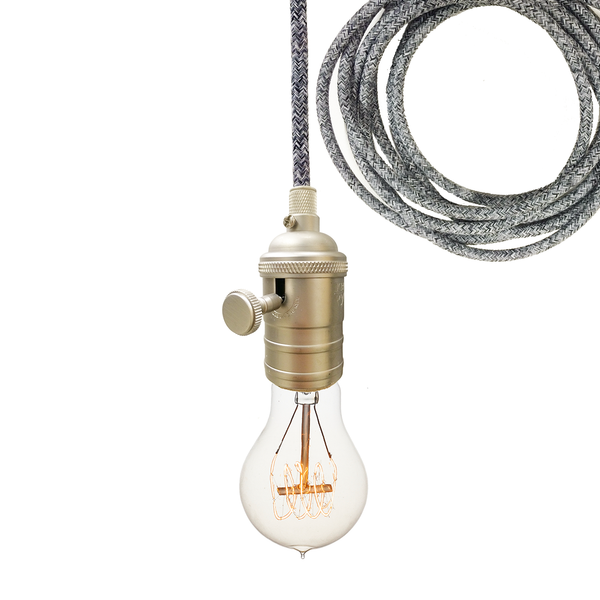 Dark Sweater Cloth Cord & Nickel Bare Bulb Pendant Light Pendant Lighting- USA Made. Custom. Exclusive. Quality Hammers and Heels