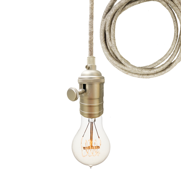 Sweater Cloth Cord & Nickel Bare Bulb Pendant Light Pendant Lighting- USA Made. Custom. Exclusive. Quality Hammers and Heels