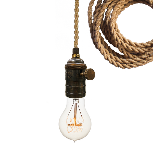 Nautical Ship Rope Cloth Cord & Bronze Bare Bulb Pendant Light - Hammers and Heels - USA Made. Custom