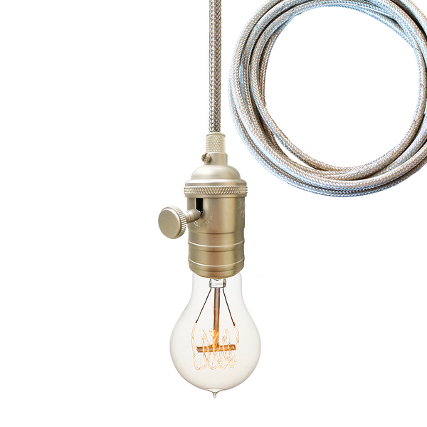 Brushed Nickel Bare Bulb Pendant Light- Chrome Cord Pendant Lighting- USA Made. Custom. Exclusive. Quality Hammers and Heels