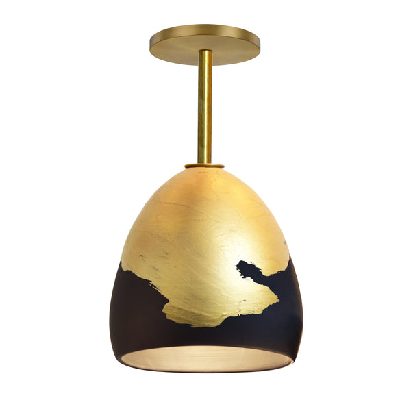 Matte Black & Brass Metallic Ombre Porcelain Round Globe Downrod Pendant Light- USA Made by Hammers and Heels. Custom. Exclusive. Quality
