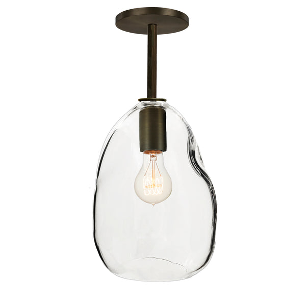 Bubble Hand Blown Glass Downrod Pendant Light- USA Made- Hammers and Heels- Custom. Exclusive. Quality
