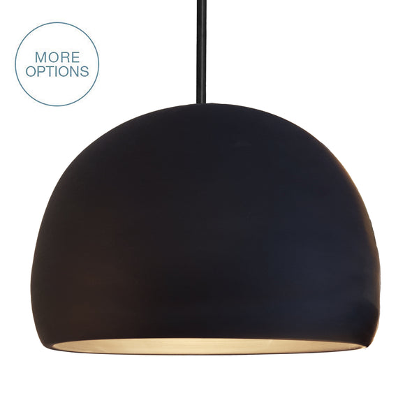 Matte Black Porcelain XL Chandelier Dome Clay Downrod Pendant Light