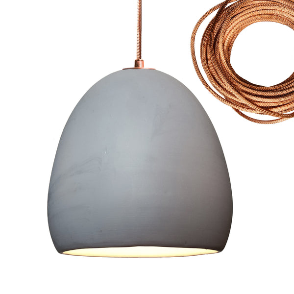 Grey Porcelain Round Globe Clay Pendant Light-Copper- USA Made- Hammers and Heels