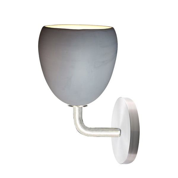 Matte Grey Porcelain Round Globe Clay Wall Sconce Light- Downrod Pendant Lighting- USA Made. Custom. Exclusive. Quality Hammers and Heels
