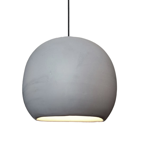 "12"" Matte Grey Porcelain Globe Pendant Light - Black Cord - USA Made"