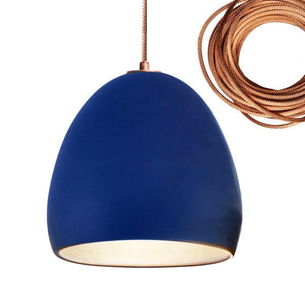 Indigo Porcelain Round Globe Clay Pendant Light-Copper- USA Made- Hammers and Heels