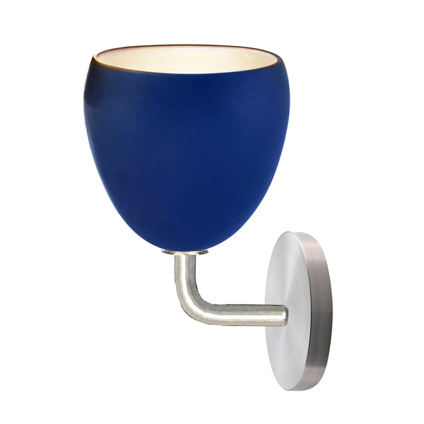 Matte Indigo Blue Porcelain Round Globe Clay Wall Sconce Light- Downrod Pendant Lighting- USA Made. Custom. Exclusive. Quality Hammers and Heels