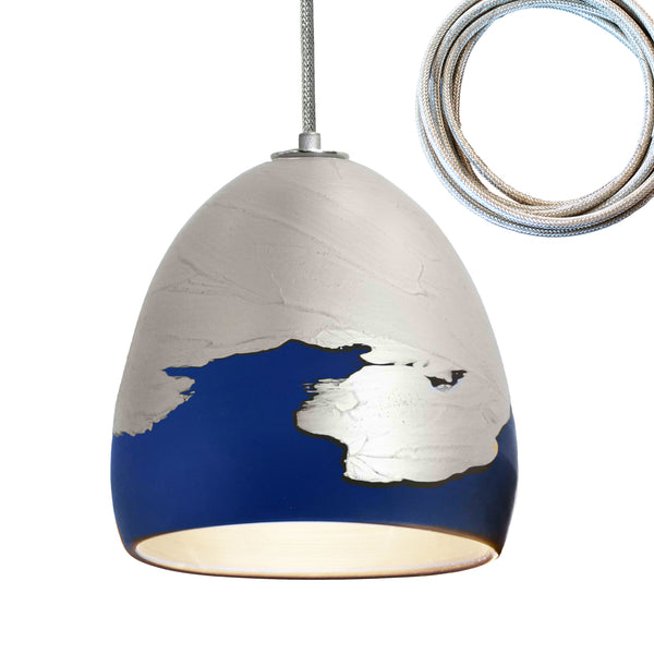 Matte Indigo & Silver Metallic Ombre Porcelain Round Globe Pendant Light- USA Made by Hammers and Heels. Custom. Exclusive. Quality