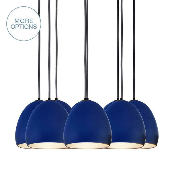 Indigo Porcelain Globe Clay Multiple Pendant Light Chandelier- USA Made- Hammers and Heels- Custom. Exclusive. Quality