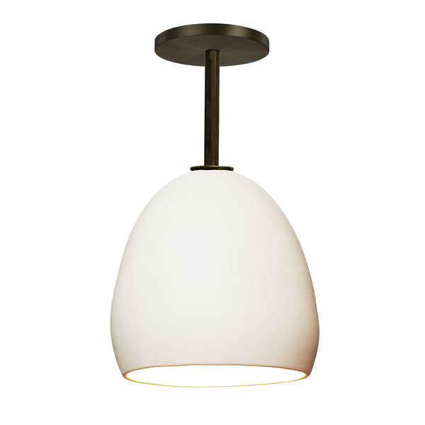 Matte White Porcelain Round Globe Clay Downrod Pendant Light-