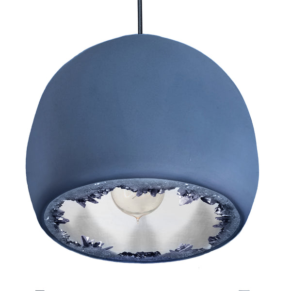 "12"" Matte Indigo & Silver Geode Quartz Crystal Globe Pendant Light - USA Made"