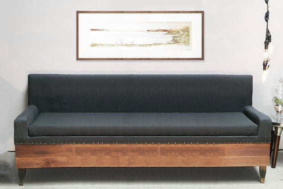 Reclaimed Wood Modern Industrial Custom Sofa Sofas- USA Made. Custom. Exclusive. Quality Hammers and Heels