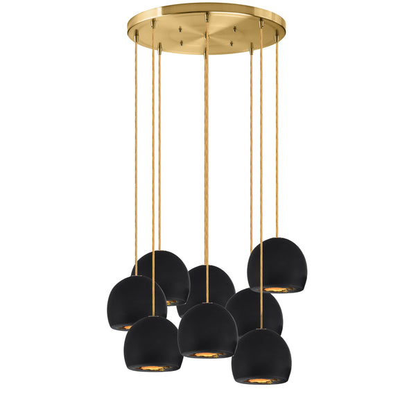 Geode Quartz Crystal Black Porcelain & Brass Multiple Staggered Pendant Light Chandelier- Made in USA